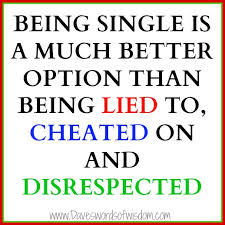 LIED TO, CHEATED ON, DISRESPECTED.....NOT